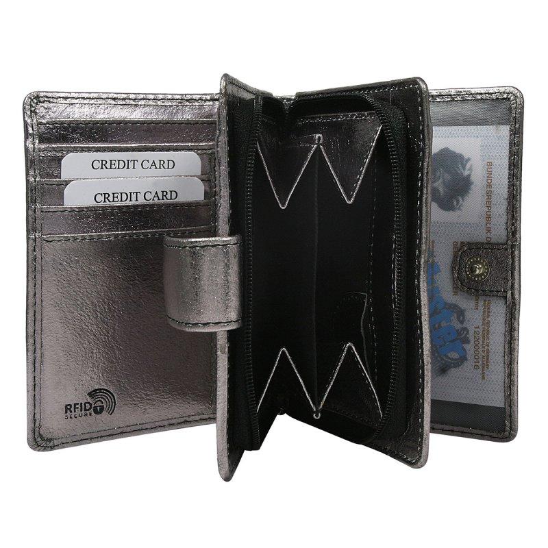 Dámská lesklá kožená peněženka Jana černá