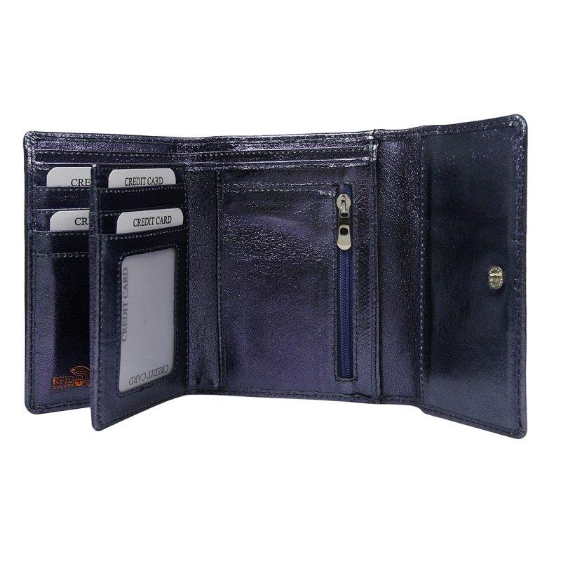 Dámská lesklá kožená peněženka Želmíra modrá