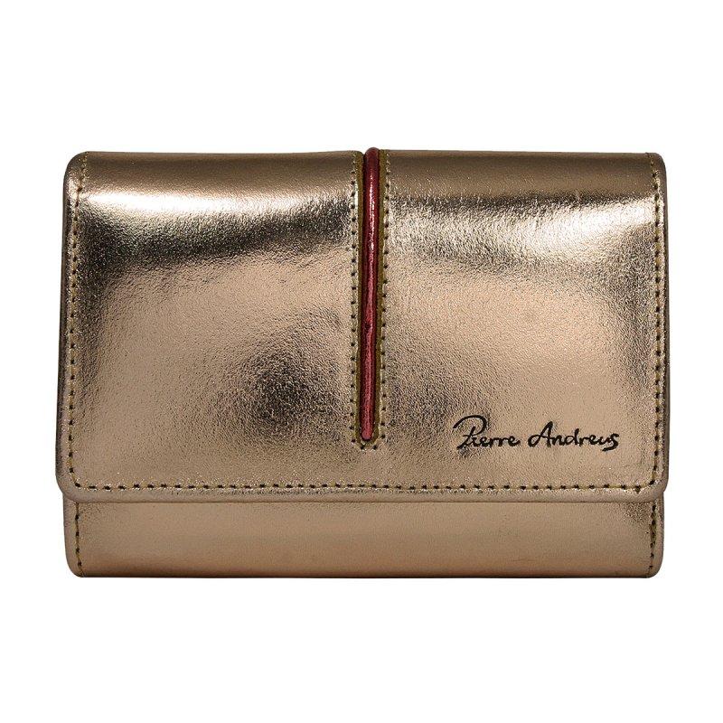 Dámská lesklá kožená peněženka Želmíra zlatá