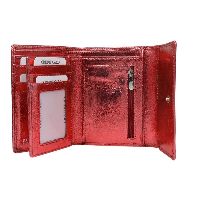 Dámská lesklá kožená peněženka Želmíra červená