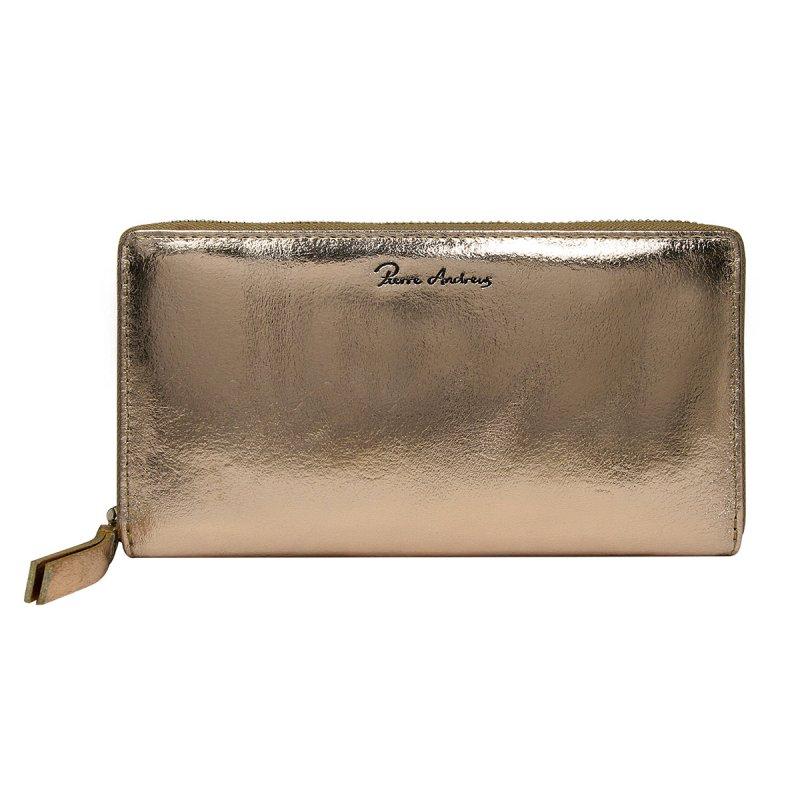 Dámská lesklá kožená peněženka Júlia zlatá