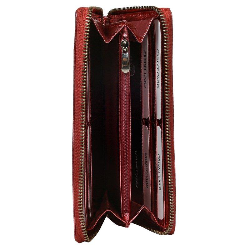 Dámská lesklá kožená peněženka Júlia červená