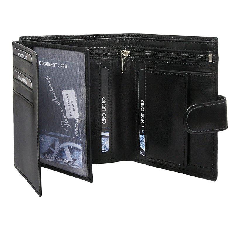 Luxusní pánská kožená peněženka černá Pierre