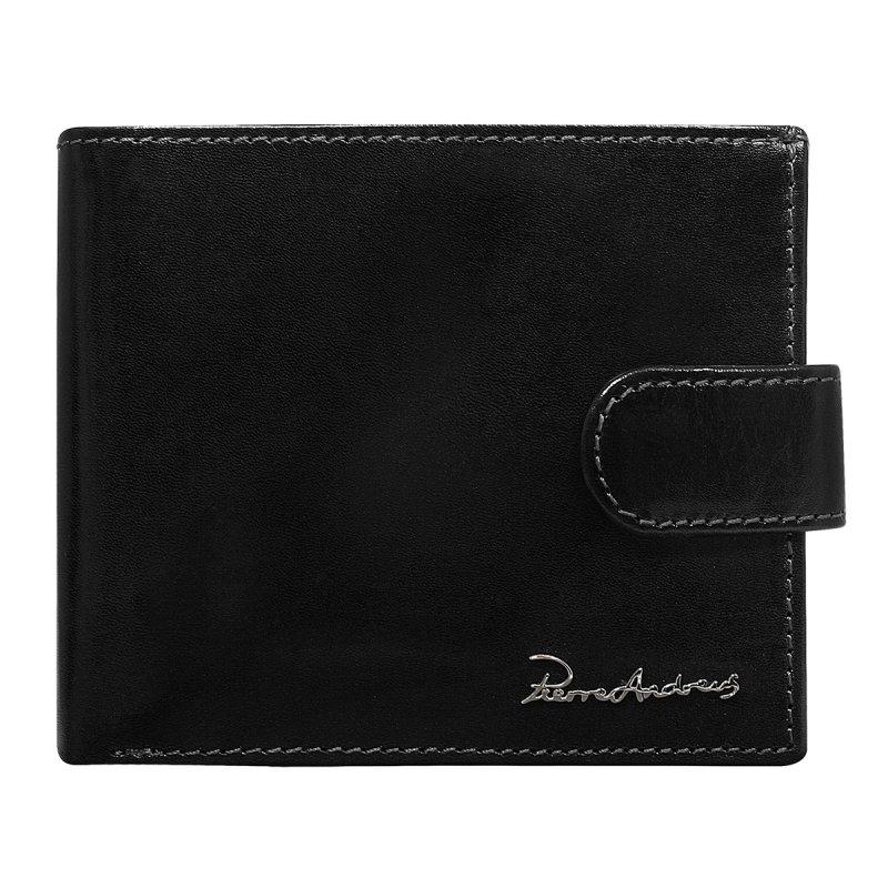 Luxusní pánská kožená peněženka černá s cvočkem Pierre