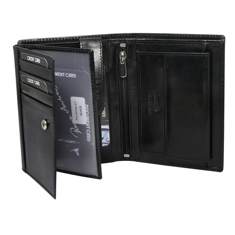 Luxusní pánská kožená peněženka černá Francois