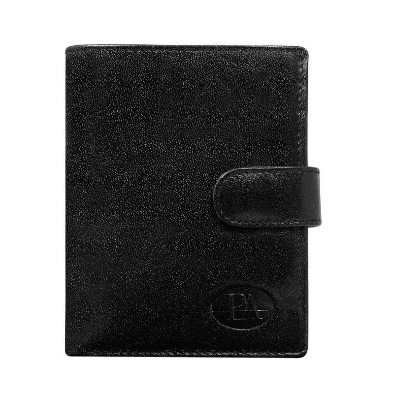 Luxusní pánská kožená peněženka černá s cvočkem France