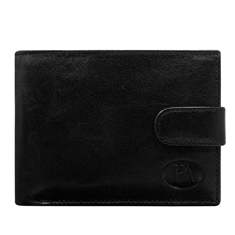 Luxusní pánská kožená peněženka černá s cvočkem Jean Pierre