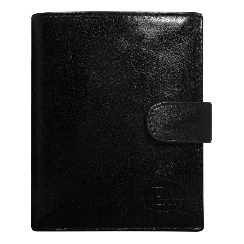 Luxusní pánská kožená peněženka černá s cvočkem Gustav
