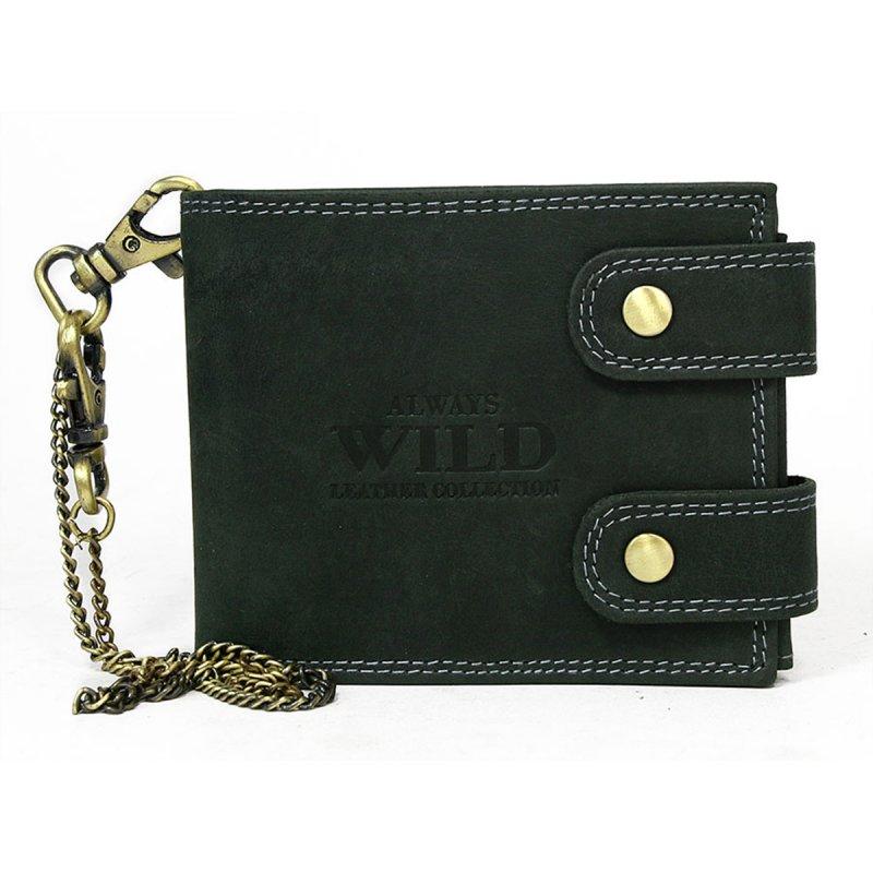 Pánská kožená peněženka s karabinou na připnutí Jakub černá