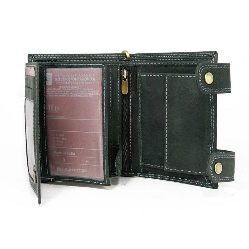 Pánská kožená peněženka s karabinou na připnutí Libor černá