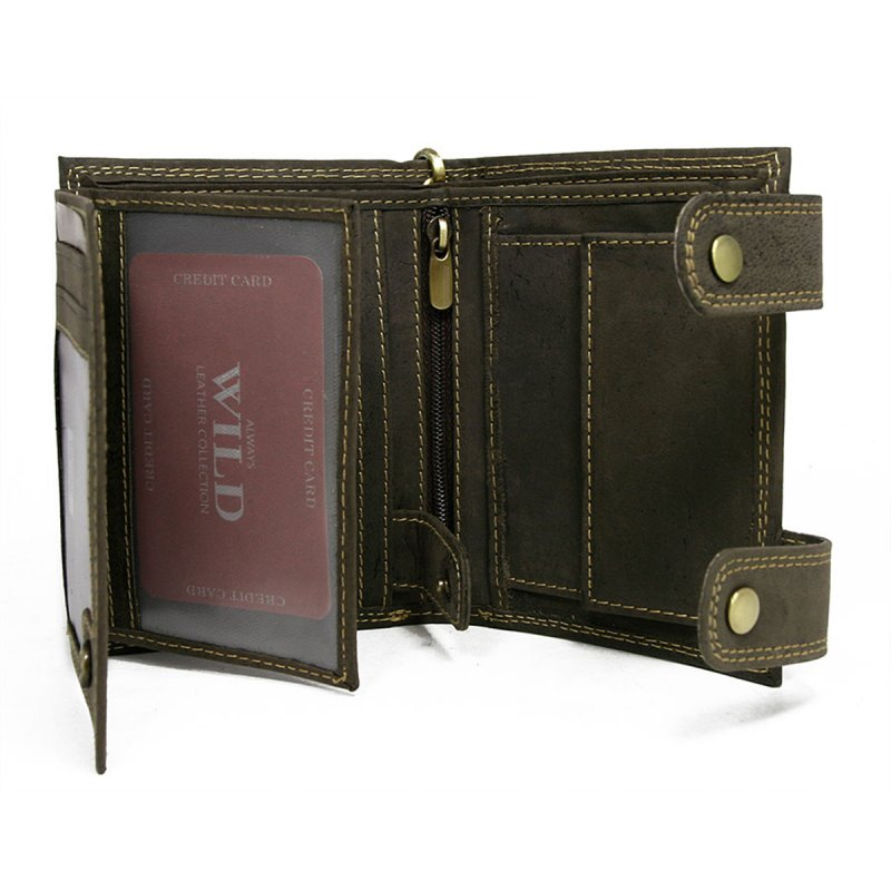 Pánská kožená peněženka s karabinou na připnutí Libor hnědá