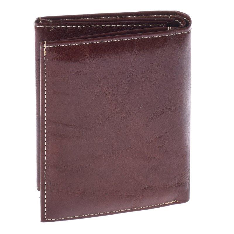Prostorná kožená pánská peněženka coffee s cvočkem Deano