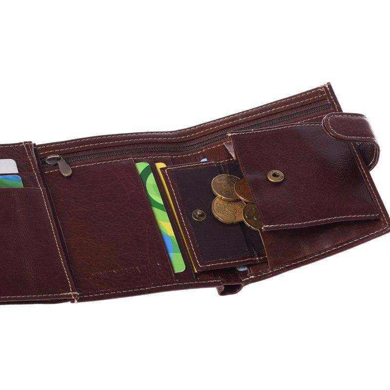 Prostorná kožená pánská peněženka coffee s cvočkem Indian