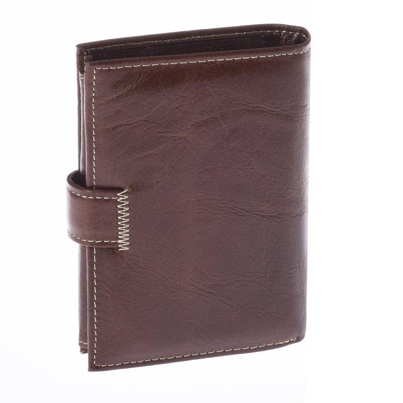 Prostorná kožená pánská peněženka coffee s cvočkem Trendish