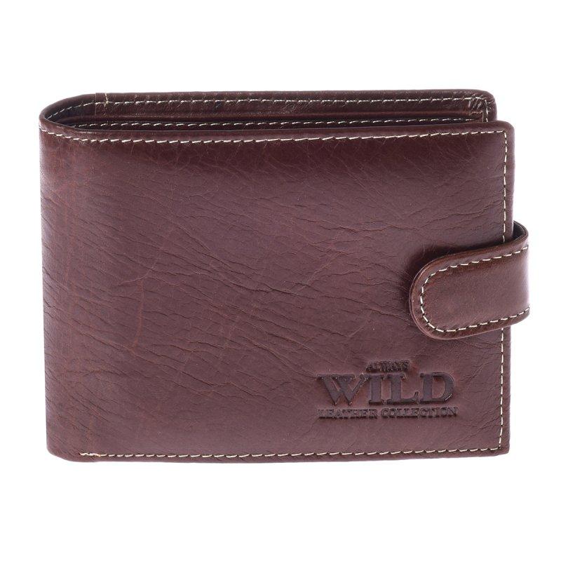 Prostorná kožená pánská peněženka s cvočkem  coffee Freestyle