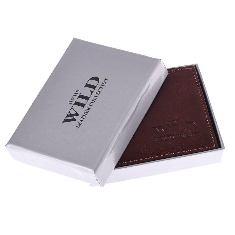 Prostorná kožená pánská peněženka coffee Free