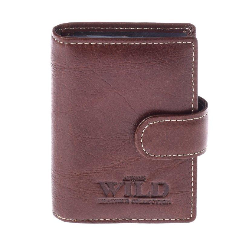 Prostorná kožená pánská peněženka dokladovka s cvočkem coffee Travolta