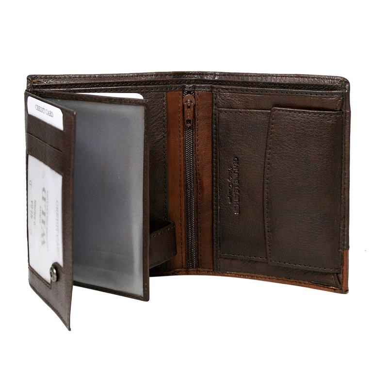 Extravagantní kožená pánská peněženka tmavě hnědá Romeo