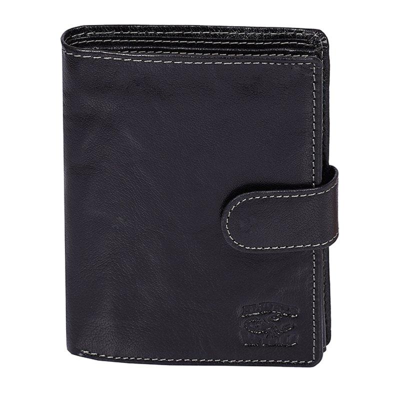 Moderní kožená pánská peněženka černá prošívaná s cvočkem Bello