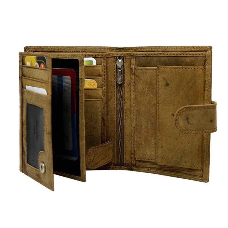 Moderní kožená pánská peněženka koňaková s cvočkem Bruno