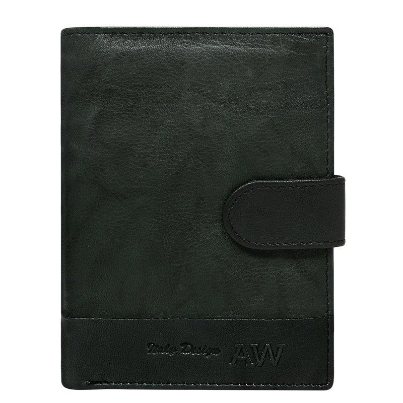 Moderní kožená pánská peněženka černá s cvočkem Bruno
