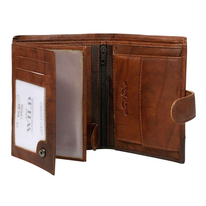 Extravagantní kožená pánská peněženka hnědá s cvočkem Romeo
