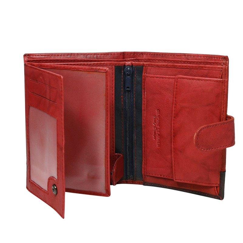 Extravagantní kožená pánská peněženka černo červená  s cvočkem Romeo