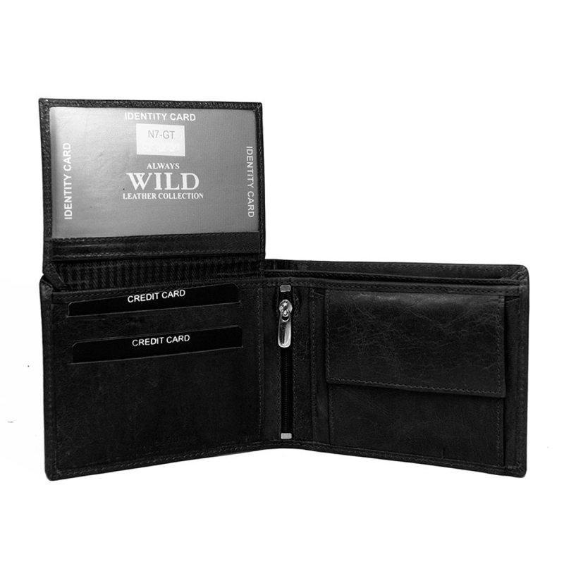 Stylová pánská kožená peněženka Ilja černá