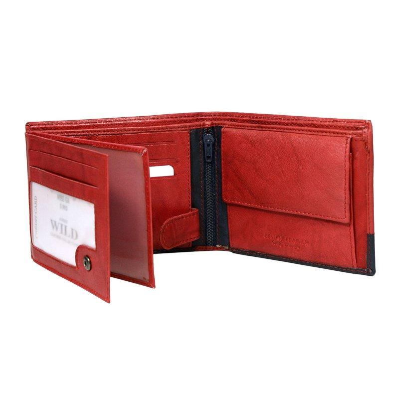 Extravagantní kožená pánská peněženka černo červená  Isom
