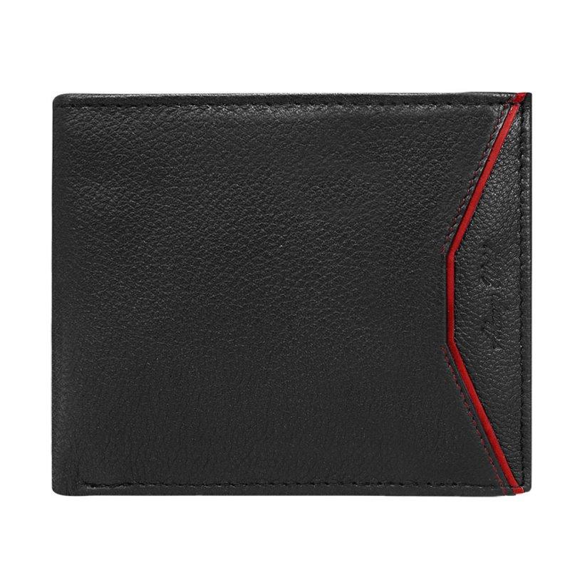 Designová kožená pánská peněženka černá s červeným detailem Rubio