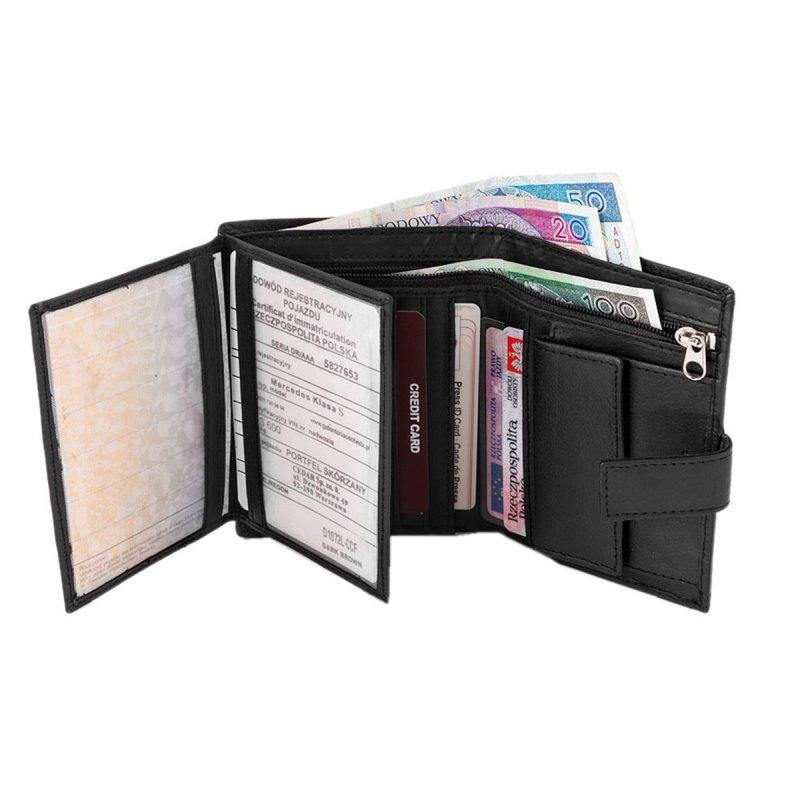 Prostorná kožená pánská peněženka černá s cvočkem Johnny