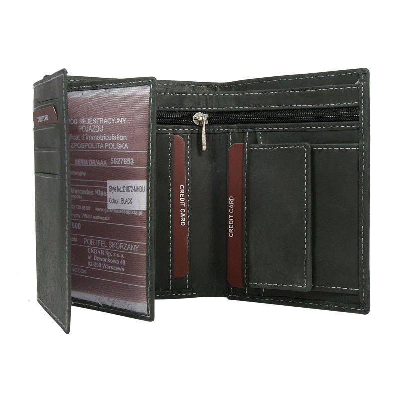 Moderní kožená pánská peněženka černá Milan