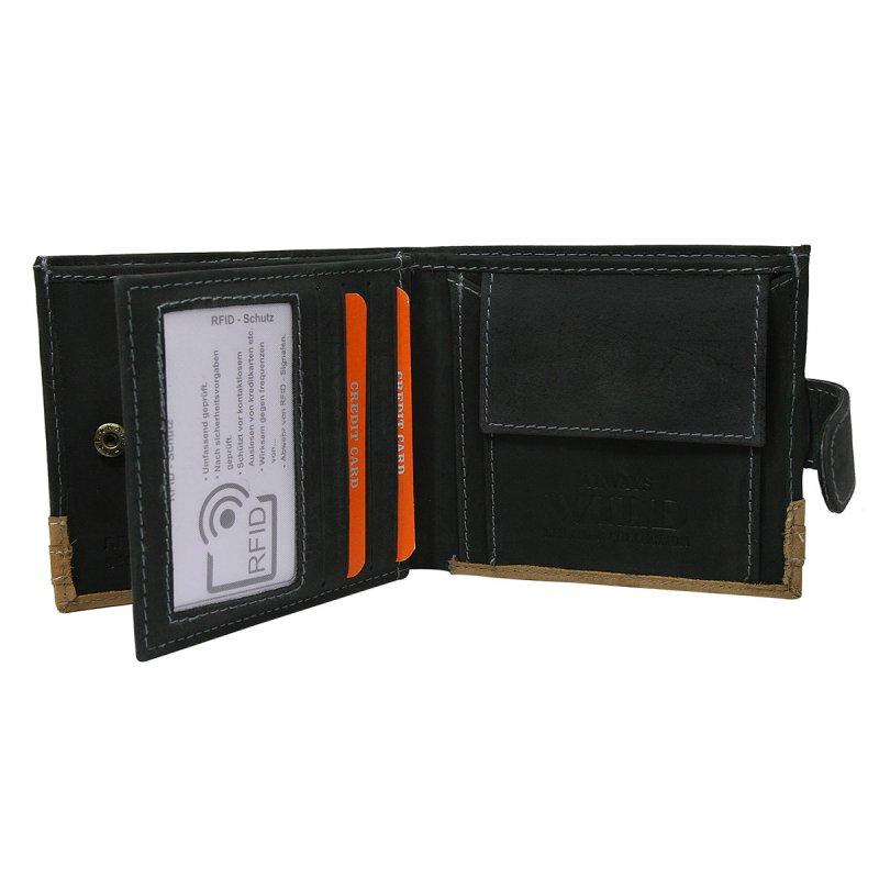 Moderní kožená peněženka černá s cvočkem Franco