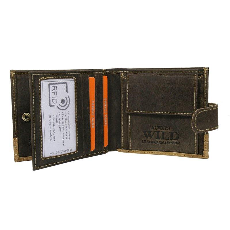 Moderní kožená peněženka hnědá s cvočkem  Franco