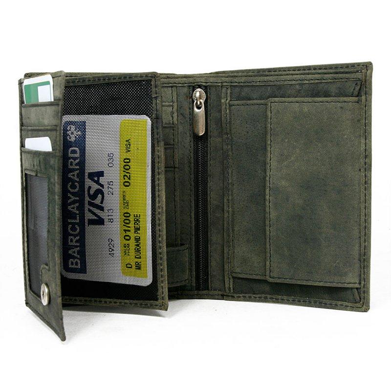Business pánská kožená peněženka zelená Ivo