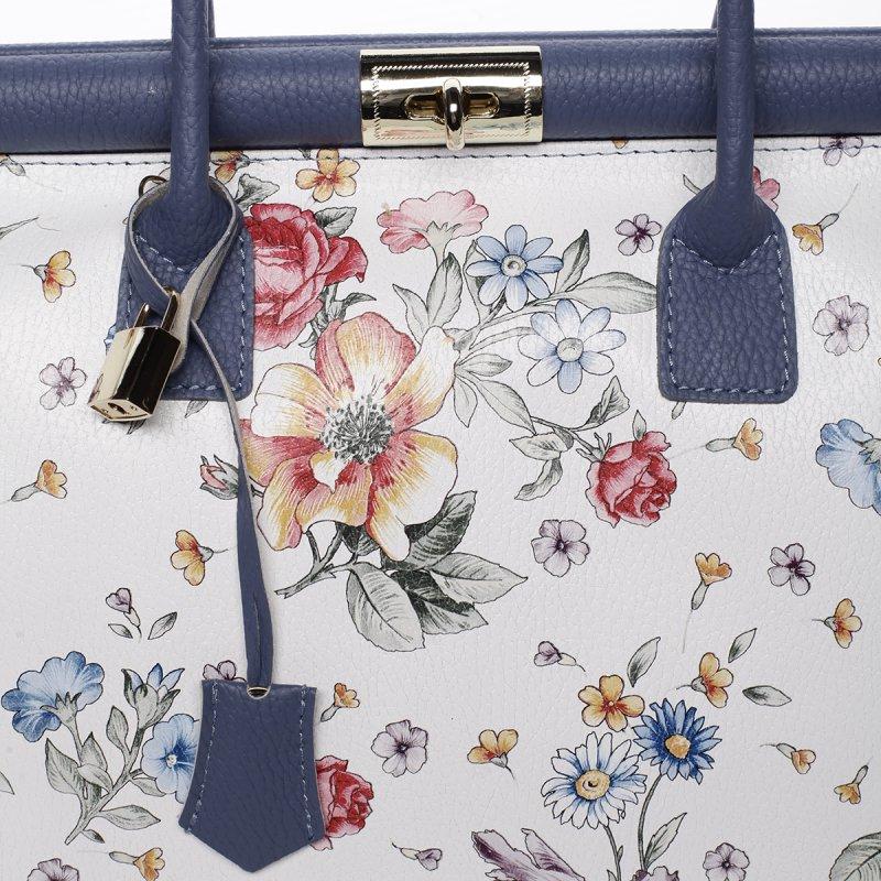 Dámská luxusní kožená kufříková kabelka Monika květiny/modrá