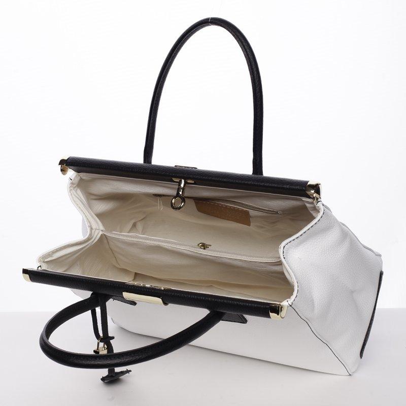 Dámská luxusní kožená kufříková kabelka Monika bílo/černá