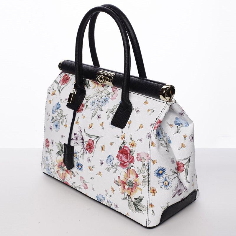 Dámská luxusní kožená kufříková kabelka Monika květiny/černá