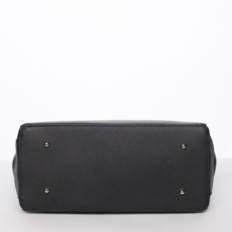 Dámská luxusní kožená kufříková kabelka Monika černá