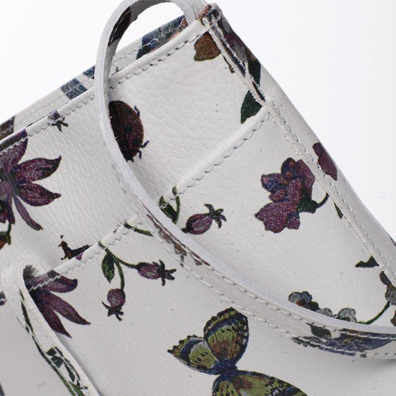 Hravá dámská kožená crossbody Zina květiny/motýl bílá