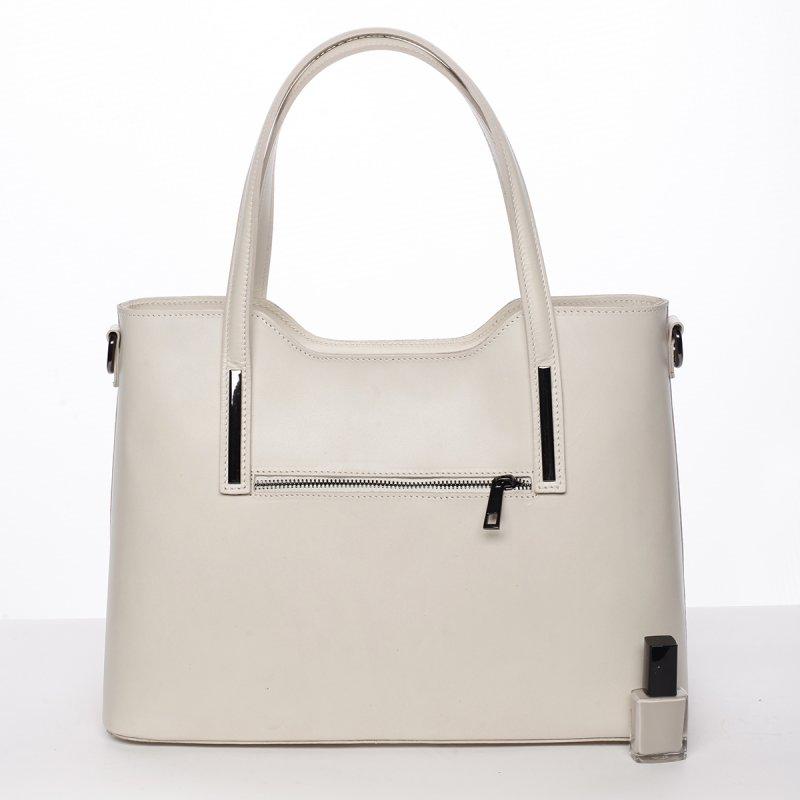 Luxusní dámská kožená kabelka Gizela béžová