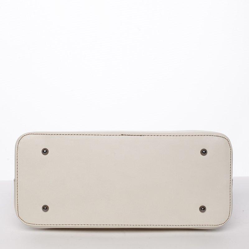 Luxusní dámská kožená kabelka Gizela bílá/koňaková