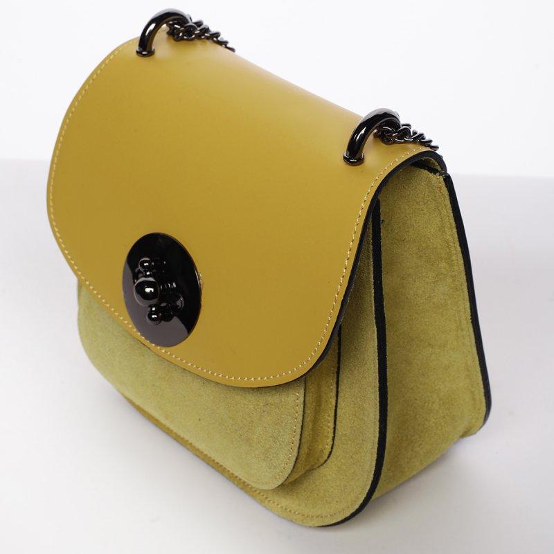 Módní dámská kožená crossbody Viktória žlutá