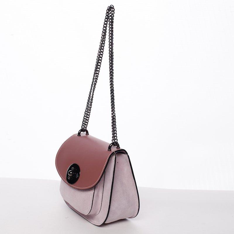 Módní dámská kožená crossbody Viktória růžová