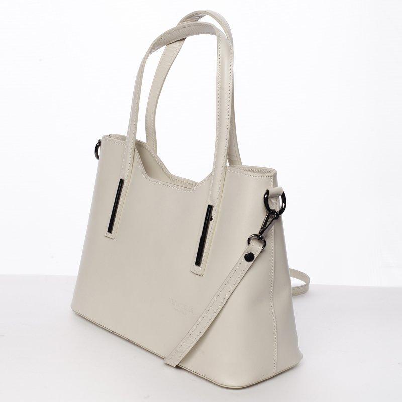 Elegantní kožená dámská kabelka do ruky Hilary, béžová