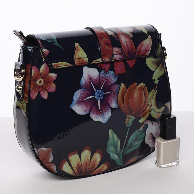 Jemná dámská kožená crossbody Petrana květy/černá