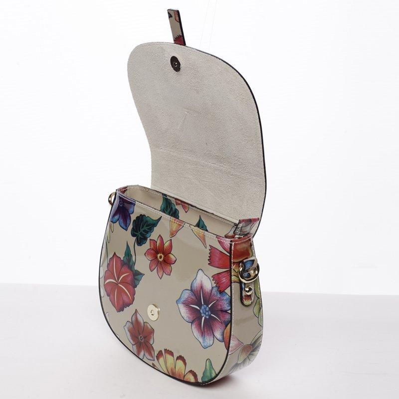 Jemná dámská kožená crossbody Petrana květy/tmavě béžová