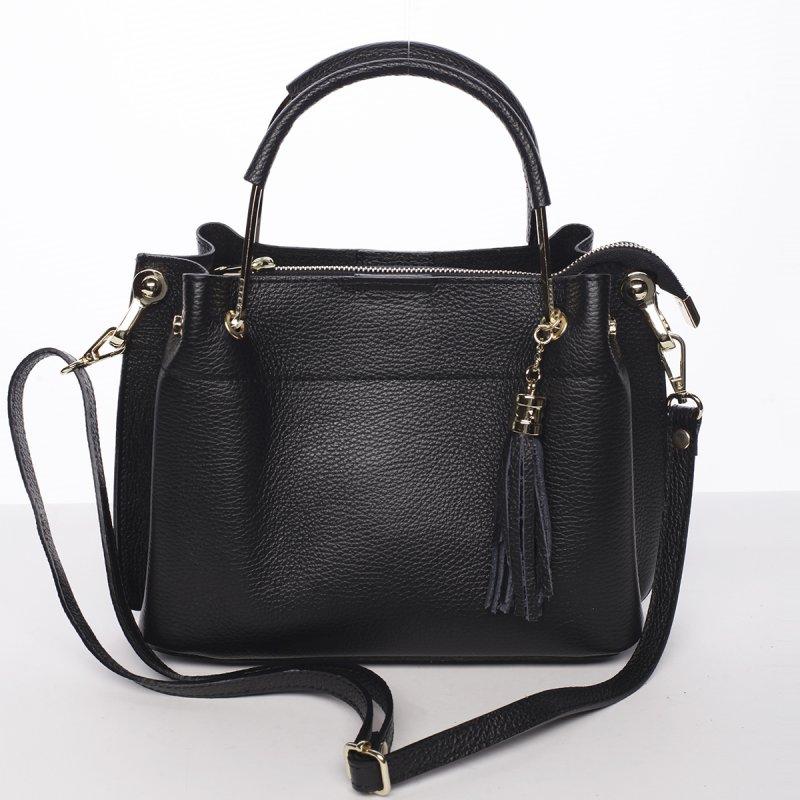 Nepřehlédnutelná dámská kožená kabelka Viola černá