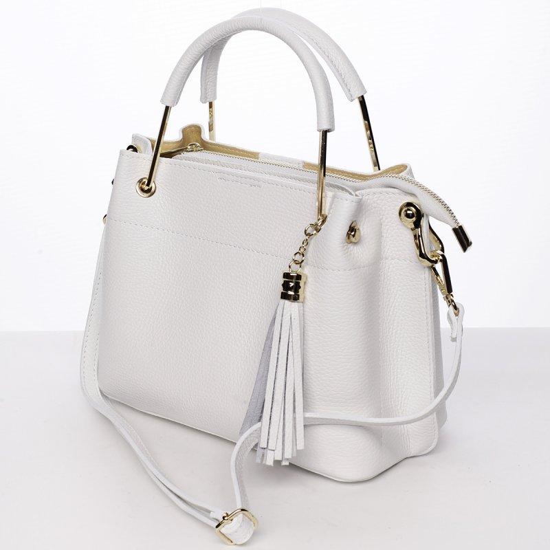 Nepřehlédnutelná dámská kožená kabelka Viola bílá