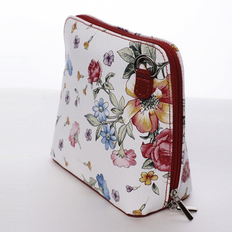 Romantická dámská kožená kabelka bílo červená Emma